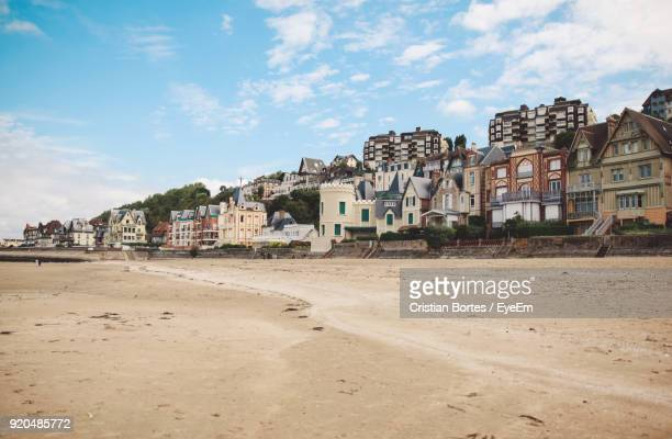 houses against sky in city - trouville sur mer stock pictures, royalty-free photos & images