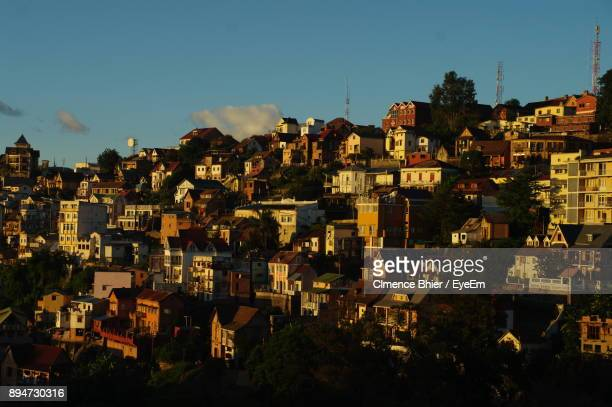 houses against sky - antananarivo stock pictures, royalty-free photos & images