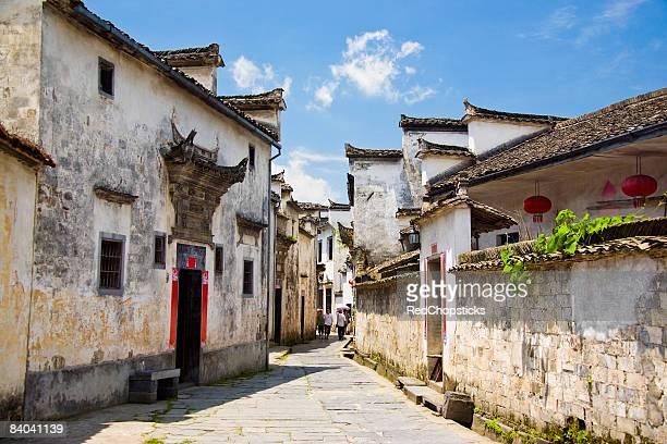 Houses along a street, Xidi, Anhui Province, China