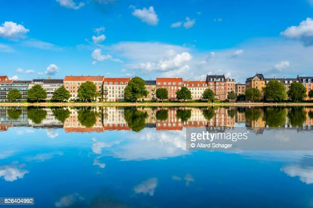 Houses along river in Copenhagen Denmark