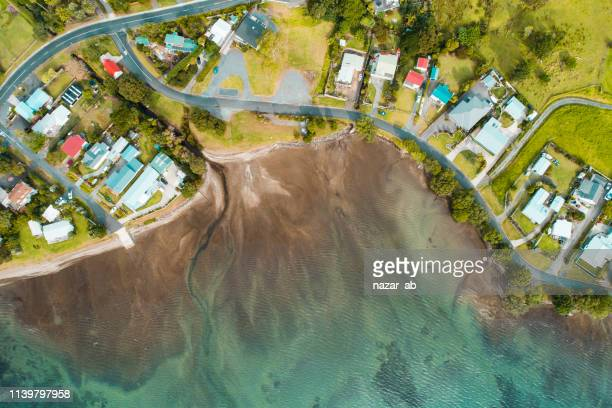 houses along the coast. - northland new zealand stock pictures, royalty-free photos & images