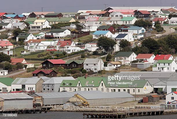 Houses and government buildings dominate Stanley on February 2 2007 in The Falkland Islands