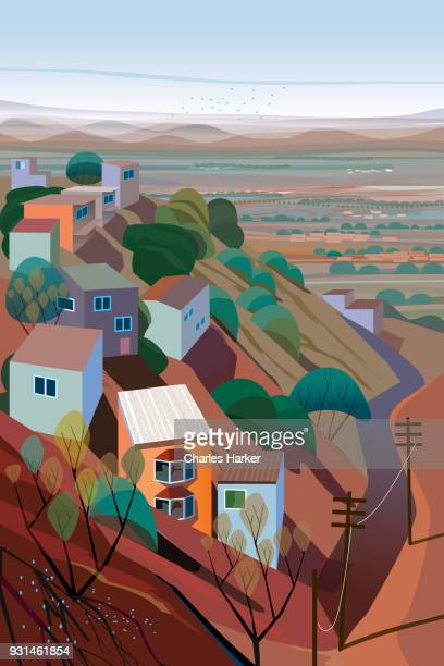 Houses and natural landscape on a Mountain Illustration