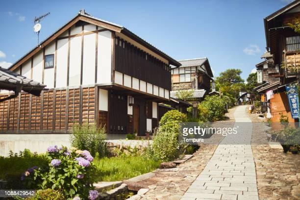 住宅や妻籠のストリート ビュー。 - 岐阜県 ストックフォトと画像