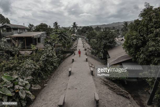 Houses and trees are seen covered in thick ash following volcanic eruptions from Mount Mayon in Guinobatan Albay province Philippines January 24 2018...