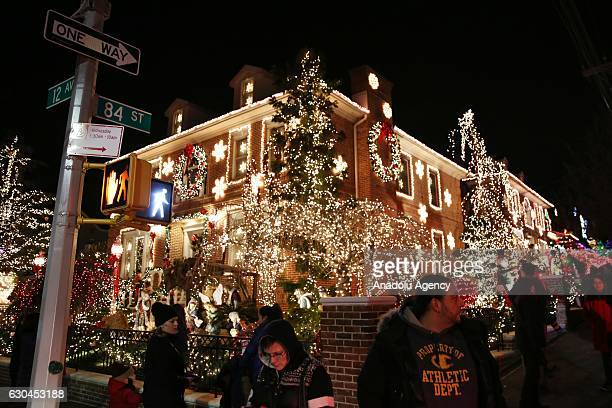Houses are decorated ahead of Christmas in Dyker Heights neighbourhood in Brooklyn, USA, on December 21, 2016.