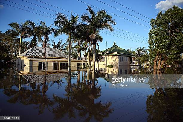 Houses are flooded as parts of southern Queensland experiences record flooding in the wake of Tropical Cyclone Oswald on January 29 2013 in Bundaberg...