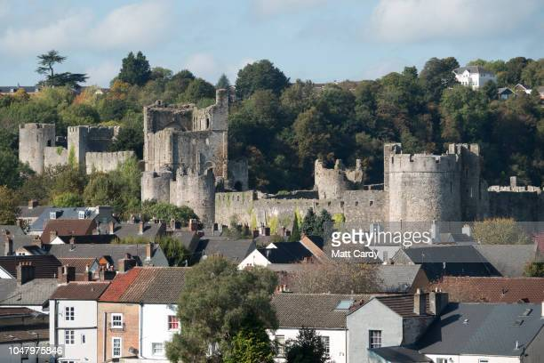 Houses are pictured below Chepstow castle near the the M48 Severn Bridge on October 9 2018 in Chepstow Wales Last week at the Conservative Party...