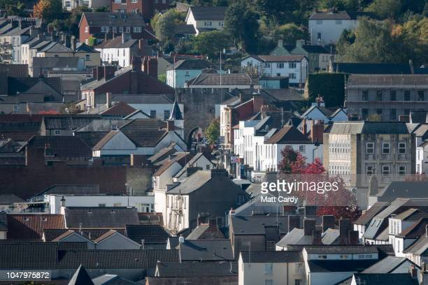 Houses are pictured in Chepstow near the the M48 Severn Bridge on October 9 2018 in Chepstow Wales Last week at the Conservative Party Conference...