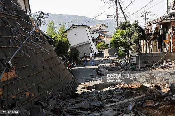 Houses are seen destroyed after a recent earthquake on April 16 2016 in Kumamoto Japan Following a 64 magnitude earthquake on April 14th the Kumamoto...