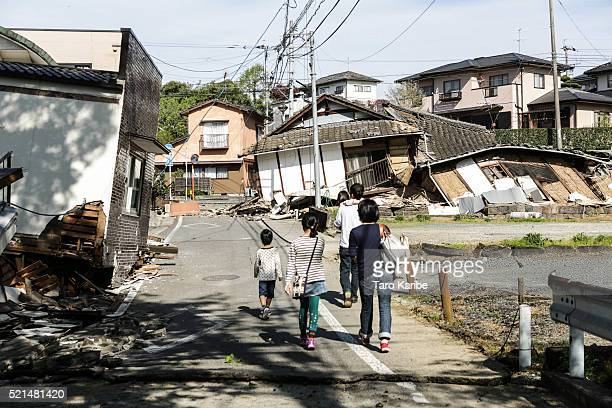Houses are seen destroyed by a recent earthquake on April 16 2016 in Kumamoto Japan Following a 64 magnitude earthquake on April 14th the Kumamoto...