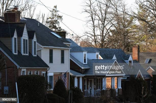 Houses are seen in the Arlington Ridge neighborhood on Sunday March 18, 2018 in Arlington, VA. The neighborhood is in walking distance to Crystal...