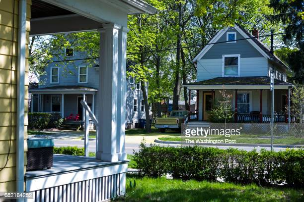 Houses are seen lining the street in the Old West Side a residential neighborhood in Ann Arbor Mich on Wednesday April 26 2017