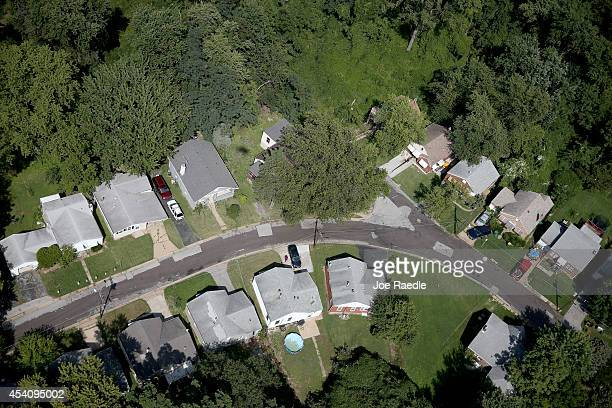 Houses are seen on a culdesac in a residential neighborhood near where police and protesters clashed over a number of days after the shooting death...