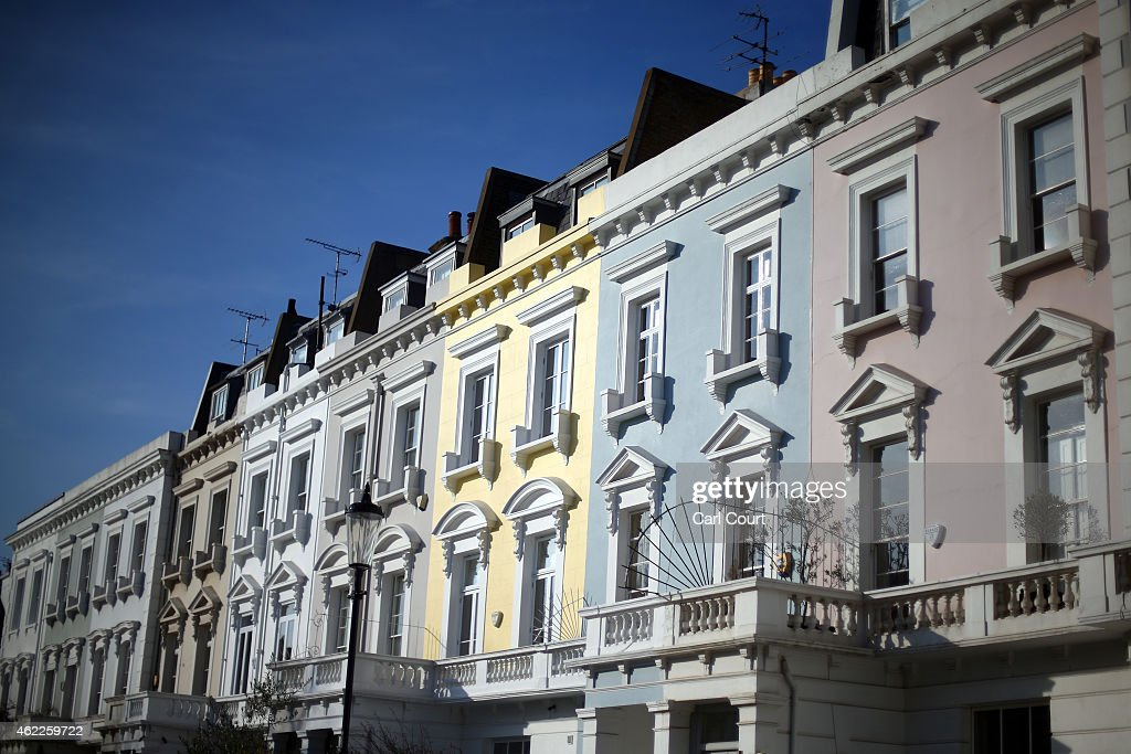 Houses are seen on January 23, 2015 in an affluent area of west London, England. The Labour Party has proposed a Mansion Tax under which properties over a market value of 2 million GBP would be subject to a levy.