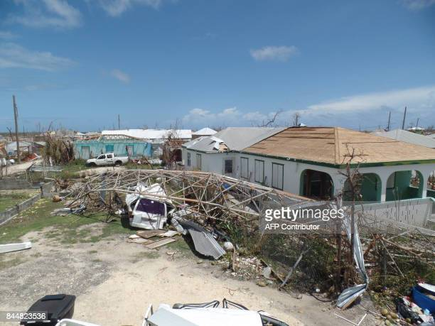 Houses are seen on September 8 2017 in Codrington Antigua and Barbuda devastated by Hurricane Irma Hurricane Irma on Thursday slashed its way through...
