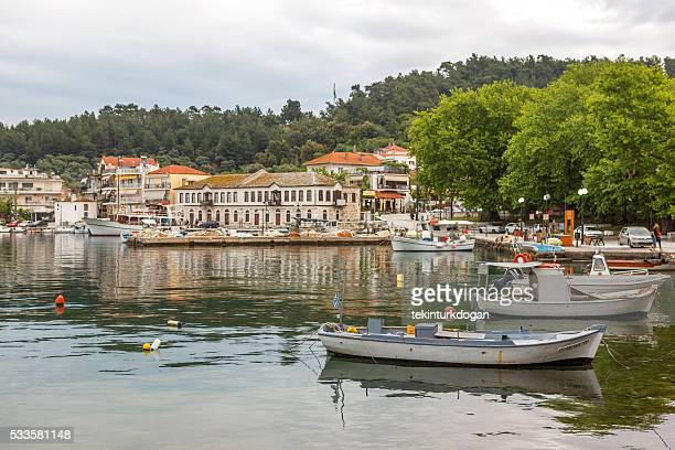 houses at coast of thassos island near kavala greece