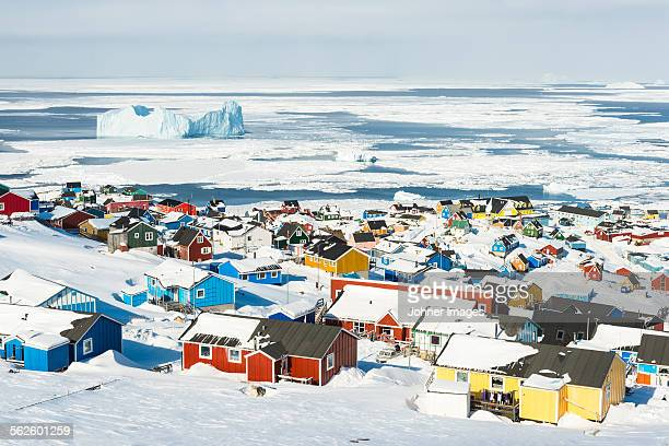 houses at coast - greenland stock pictures, royalty-free photos & images