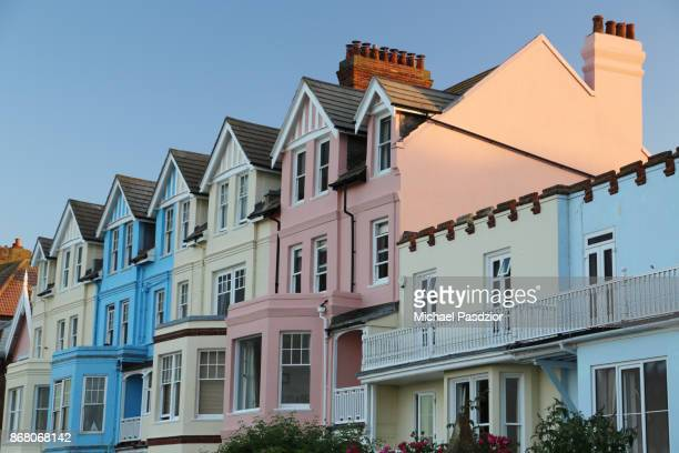 houses at coast street - aldeburgh stock photos and pictures
