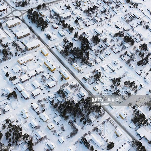 houses at winter, aerial view - norrbotten province stock pictures, royalty-free photos & images