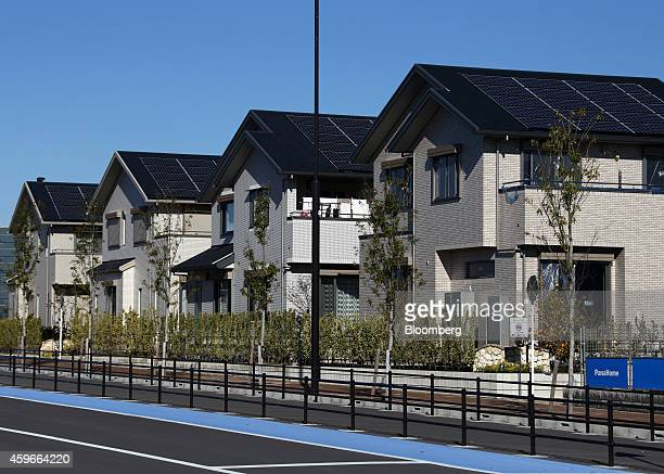 Houses built by PanaHome Corp. Stand at the Fujisawa Sustainable Smart Town, developed by a consortium led by Panasonic Corp., in Fujisawa, Kanagawa...
