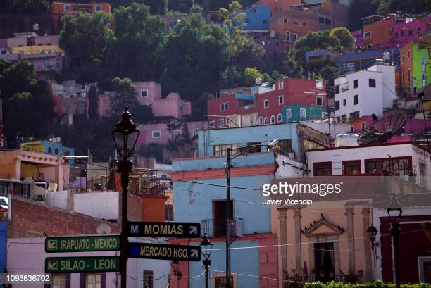 Houses Built On The Hill in Guanajuato, Mexico