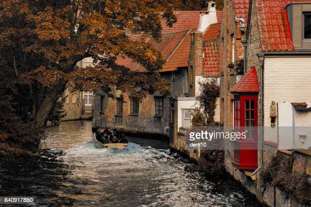 houses by canal - bruges stock pictures, royalty-free photos & images