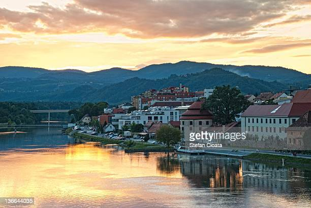 Houses by river at sunset in Maribor
