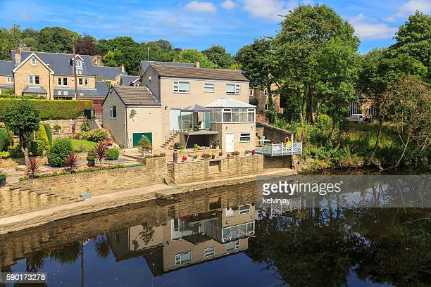 Houses by the river Aire in Leeds