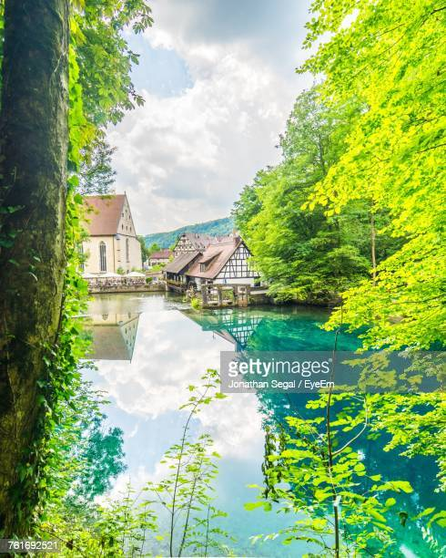 houses by trees against sky - ulm stock pictures, royalty-free photos & images