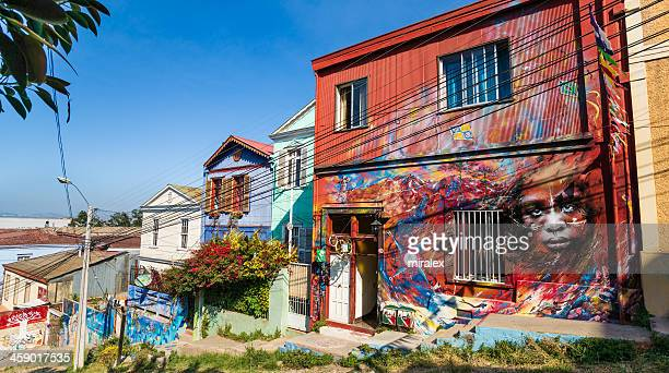 Houses Covered with Graffiti on Cerro Concepción in Valparaiso, Chile