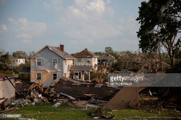 TOPSHOT Houses damaged by a tornado are seen in Dayton Ohio on May 28 after powerful tornadoes ripped through the US state overnight causing at least...