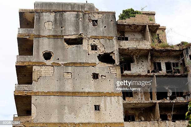 Houses damaged during Lebanese civil war are seen in Beirut, Lebanon on April 13, 2016. The 41st anniversary of the Lebanese civil war which lasted...