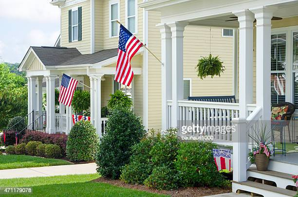 Houses Decorated with Buntings and American Flags