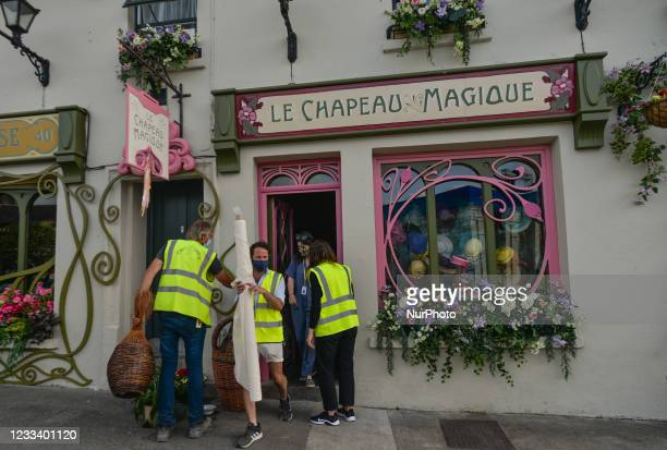 Houses decorated with flowers in the village of Enniskerry in County Wicklow. There are only two more days until filming begins for Disney's...