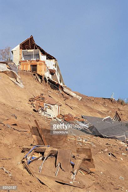 houses destroyed by a natural disaster - landslide stock pictures, royalty-free photos & images