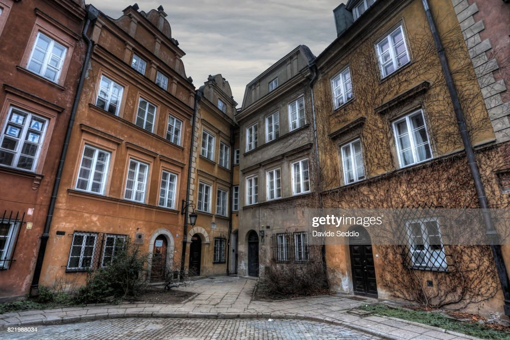 Houses in a alley in the old town of Warsaw : Stock Photo