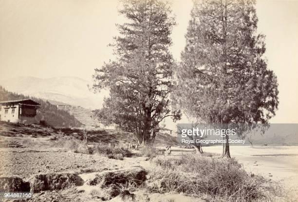 Houses in a valley Bhutan Myanmar 1860