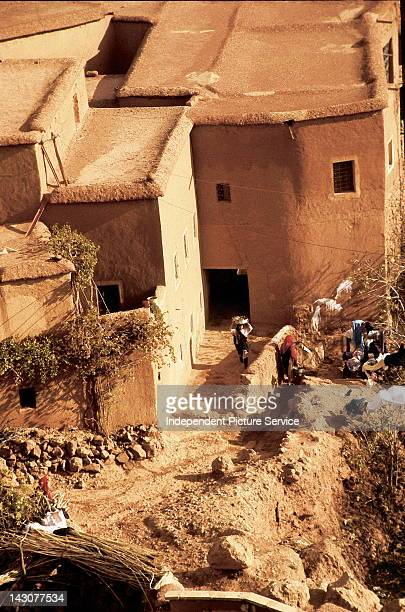 Houses in a village made from earthen bricks Morocco