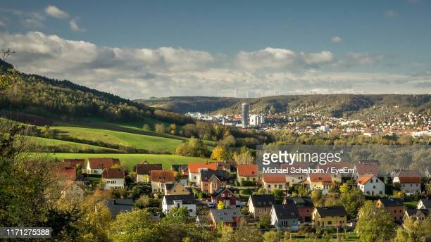 houses in city against sky - thuringia stock pictures, royalty-free photos & images
