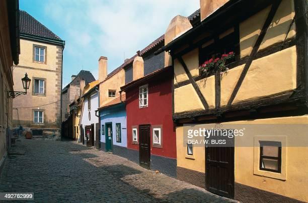 Houses in Golden Lane or Alchemists Alley historic centre of Prague Czech Republic