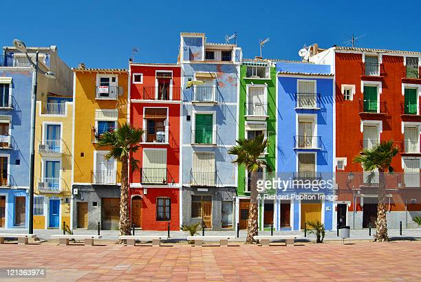 houses in la vila joyosa - valencia spain stock pictures, royalty-free photos & images