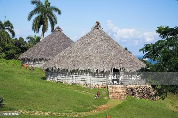 Houses in reproduction Taino Indian village Chorro de Maita Banes near Guardalavaca Holguin Province Cuba