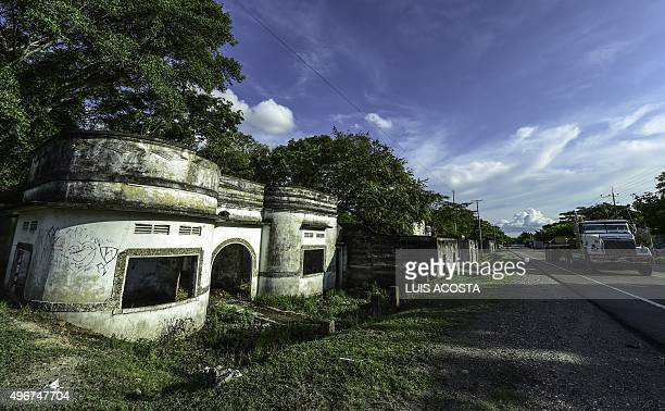 Houses in ruins in the town of Armero, Tolima department, Colombia on November 5, 2015. Armero was destroyed by a landslide caused by the eruption of...