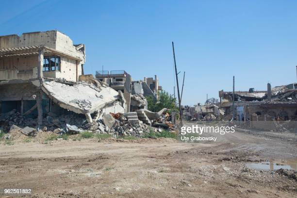 Houses in the destroyed Mosul on April 24 2018 in MOSUL IRAQ