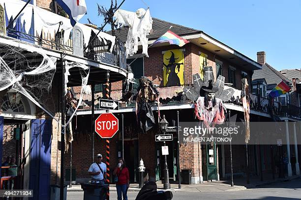 Houses in the French Quarter of New Orleans Louisiana wear special decorations on October 19 2015 as the city prepares to celebrate Halloween AFP...