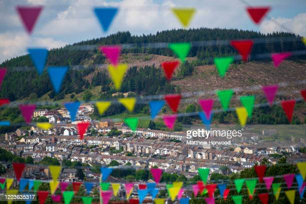 Houses in Ton Pentre seen through bunting on May 08 2020 in Penygraig United Kingdom The UK commemorates the 75th Anniversary of Victory in Europe...