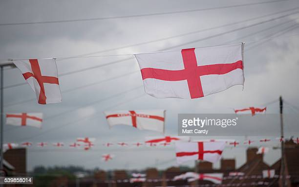 Houses in Torrington Avenue display England flags in support of the England football team on June 13 2016 in Bristol England Many of the houses in...
