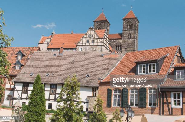houses in town against sky - saxony anhalt stock pictures, royalty-free photos & images