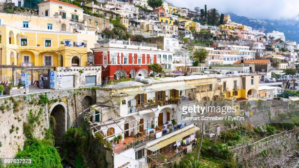 houses in town - sorrento italy stock pictures, royalty-free photos & images